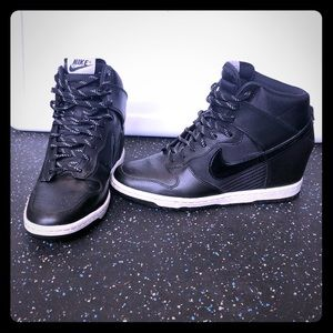 Black and white Nike Dunk Sky Hi Wedges